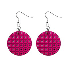Pink Pattern Squares Mini Button Earrings
