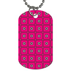 Pink Pattern Squares Dog Tag (two Sides) by AnjaniArt
