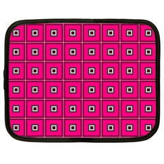 Pink Pattern Squares Netbook Case (large)