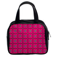 Pink Pattern Squares Classic Handbag (two Sides) by AnjaniArt