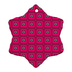 Pink Pattern Squares Snowflake Ornament (two Sides)