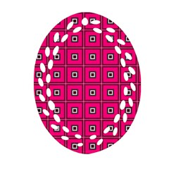 Pink Pattern Squares Ornament (oval Filigree)
