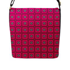 Pink Pattern Squares Flap Closure Messenger Bag (l) by AnjaniArt