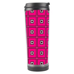 Pink Pattern Squares Travel Tumbler by AnjaniArt
