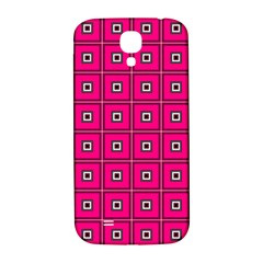 Pink Pattern Squares Samsung Galaxy S4 I9500/i9505  Hardshell Back Case by AnjaniArt
