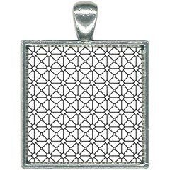 Mesh Pattern Grid Line Square Necklace