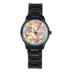 Mosaic Background Cube Pattern Stainless Steel Round Watch by AnjaniArt