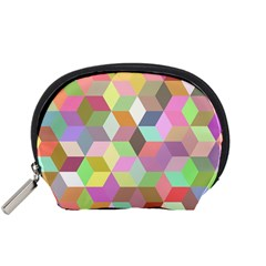 Mosaic Background Cube Pattern Accessory Pouch (small) by AnjaniArt