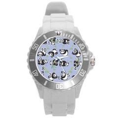 Panda Tile Cute Pattern Round Plastic Sport Watch (l)