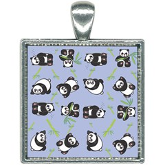 Panda Tile Cute Pattern Square Necklace by AnjaniArt