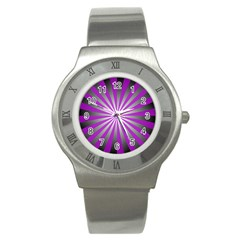 Purple Abstract Background Stainless Steel Watch