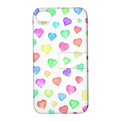 Love Hearts Shapes Apple Iphone 4/4s Hardshell Case With Stand