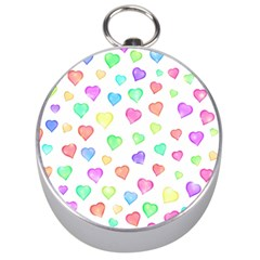Love Hearts Shapes Silver Compasses