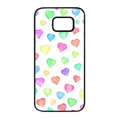 Love Hearts Shapes Samsung Galaxy S7 Edge Black Seamless Case by AnjaniArt