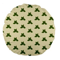 Leaf Pattern Green Wallpaper Tea Large 18  Premium Flano Round Cushions
