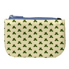 Leaf Pattern Green Wallpaper Tea Large Coin Purse