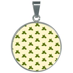 Leaf Pattern Green Wallpaper Tea 30mm Round Necklace by Jojostore