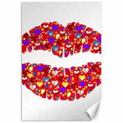 Heart Lips Kiss Romance Passion Canvas 24  X 36