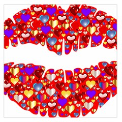 Heart Lips Kiss Romance Passion Large Satin Scarf (square)