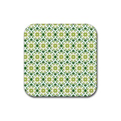 Leaves Floral Flower Flourish Rubber Coaster (square)  by Jojostore