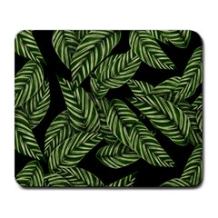 Leaves Black Background Pattern Large Mousepads by Jojostore