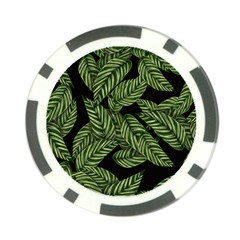 Leaves Black Background Pattern Poker Chip Card Guard