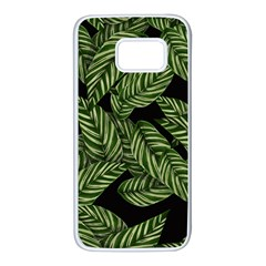 Leaves Black Background Pattern Samsung Galaxy S7 White Seamless Case by Jojostore