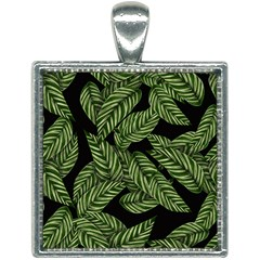 Leaves Black Background Pattern Square Necklace by Jojostore
