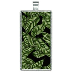 Leaves Black Background Pattern Rectangle Necklace