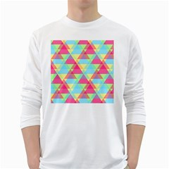 Pattern Bright Triangle Pink Blue Long Sleeve T Shirt