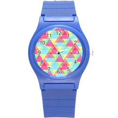 Pattern Bright Triangle Pink Blue Round Plastic Sport Watch (s)