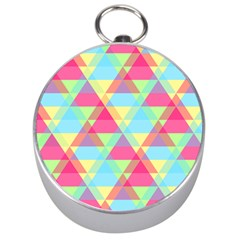 Pattern Bright Triangle Pink Blue Silver Compasses