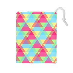 Pattern Bright Triangle Pink Blue Drawstring Pouch (large)