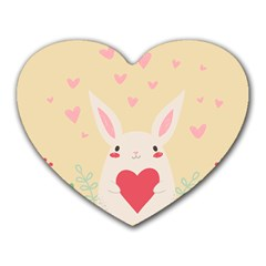 Rabbit Heart Illustration Heart Mousepads