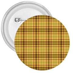 Plaid Seamless Gold Butterscotch 3  Buttons by Jojostore