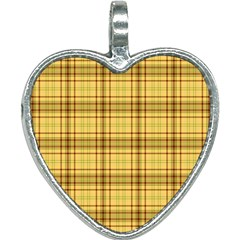 Plaid Seamless Gold Butterscotch Heart Necklace