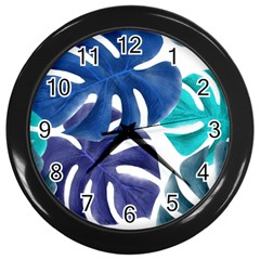 Leaves Tropical Blue Green Nature Wall Clock (black)
