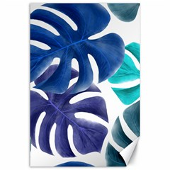 Leaves Tropical Blue Green Nature Canvas 24  X 36