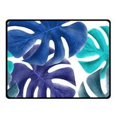 Leaves Tropical Blue Green Nature Fleece Blanket (small) by Alisyart