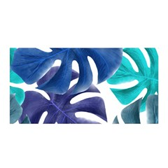 Leaves Tropical Blue Green Nature Satin Wrap