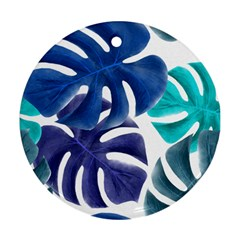 Leaves Tropical Blue Green Nature Round Ornament (two Sides)