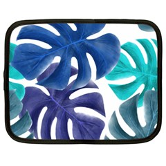 Leaves Tropical Blue Green Nature Netbook Case (xxl) by Alisyart