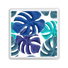 Leaves Tropical Blue Green Nature Memory Card Reader (square) by Alisyart