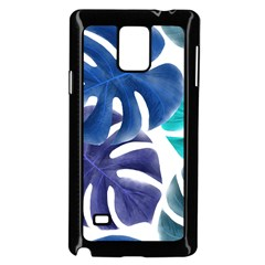 Leaves Tropical Blue Green Nature Samsung Galaxy Note 4 Case (black) by Alisyart