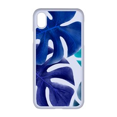 Leaves Tropical Blue Green Nature Apple Iphone Xr Seamless Case (white) by Alisyart
