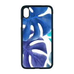 Leaves Tropical Blue Green Nature Apple Iphone Xr Seamless Case (black)