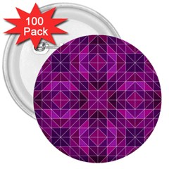 Purple Triangle Pattern 3  Buttons (100 Pack)  by Alisyart