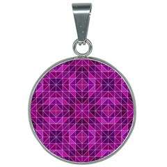 Purple Triangle Pattern 25mm Round Necklace