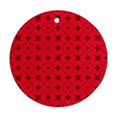 Red Magenta Wallpaper Seamless Pattern Ornament (round)