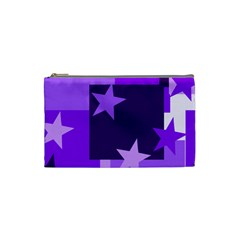 Purple Stars Pattern Shape Cosmetic Bag (small)
